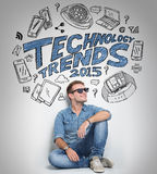 Man thinking about technology trends, illustrated things Royalty Free Stock Photography
