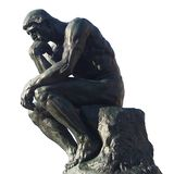 Man thinking - The thinker by Rodin. Man sitting and thinking. Bronze cast of the famous sculpture by Rodin, the thinker, or the poet. Can represent human royalty free stock image