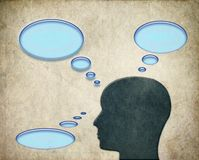 Man thinking about thoughts with bubbles. Man thinking about..., Man thinking about thoughts with bubbles with three bubble for your text, sign, etc Vector Illustration