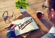 Man Thinking about Tolerance Concepts Royalty Free Stock Images