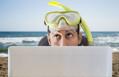 Man thinking he travels to on his next vacation Royalty Free Stock Photo