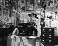 Man thinking at typewriter Stock Photo