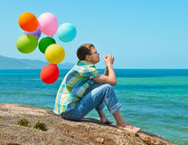 Man thinking and watching the sea Stock Photography