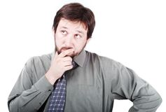 A man with thinking and worring expression. On his face Royalty Free Stock Photos