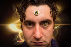Man Third Eye. Handsome male fortune teller with magic third eye royalty free stock photos