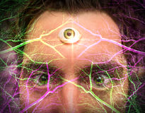 Man Third Eye. Handsome male fortune teller with magic third eye royalty free stock images