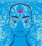 Man with third eye, psychic supernatural senses. Vector Illustration royalty free illustration