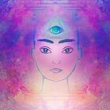 Man with third eye, psychic supernatural senses. Raster Illustration vector illustration