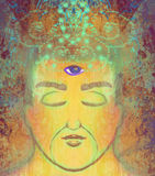 Man with third eye, psychic supernatural senses royalty free illustration