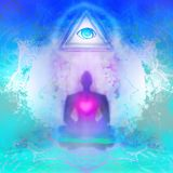 Man with third eye, psychic supernatural senses. Raster Illustration royalty free illustration
