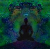 Man with third eye, psychic supernatural senses. Raster Illustration stock illustration