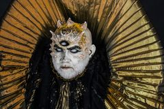 Man with third eye, thorns or warts. Senior man with white beard dressed like monster. Alien, demon, sorcerer makeup. Horror and fantasy concept. Demon with royalty free stock images