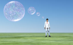 Man thought bubbles. Man with transparent thought bubbles Stock Photography