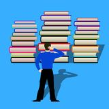 The man thought how to read books in front of him. Flat style vector illustration
