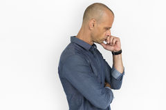 Man Thoughtful Studio Portrait Concept royalty free stock image