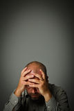 Man in thoughts. Expressions, feelings and moods. Suffering concept Royalty Free Stock Image