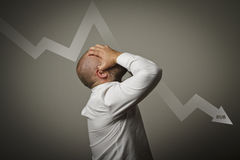 Man in thoughts. Russian rouble concept. Stock Images