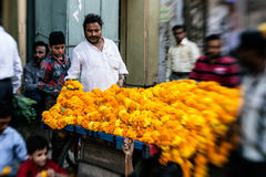 Man threading colourful flower garlands in Delhi Royalty Free Stock Images