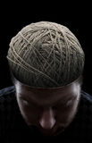 Man with threads in his head royalty free stock image