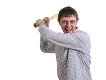 Man threaten with bat. Angry office manager threaten with baseball bat Royalty Free Stock Photo