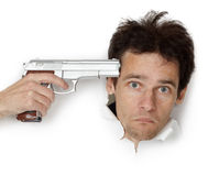 Man threatened with gun Stock Photography