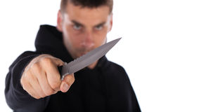 Man threatening with knife Stock Photos