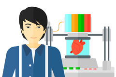 Man with three D printer. An asian man standing near 3D printer making a heart vector flat design illustration isolated on white background Stock Photography