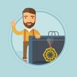 Man with three D printer vector illustration. Royalty Free Stock Photo
