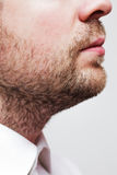 Man with a three-day unkempt unshaven stubble in white shirt Royalty Free Stock Image