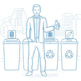 Man throwing away plastic bottle. Stock Photography