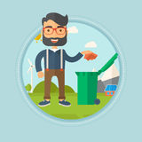 Man throwing away trash vector illustration. Royalty Free Stock Photography