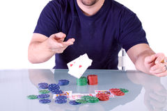 Man Throwing Cards on the Table in Texas Hold'em Stock Photography