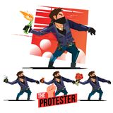 Man throwing Fire Molotov cocktail, bomb, brick stone and flower. Protester and evolution concept - vector illustration Stock Image