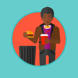Man throwing junk food vector illustration. Royalty Free Stock Photos
