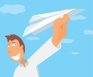 Man throwing a paper plane and taking off Stock Photos