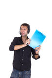 Man throwing papers Stock Images
