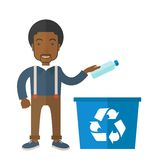 Man throwing plastic container into recycle can. A black guy throwing plastic container into blue can with recycle symbol. A Contemporary style. Vector flat Stock Photo