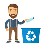 Man throwing plastic container into recycle can. A hipster throwing plastic container into blue can with recycle symbol. A Contemporary style. flat design Royalty Free Stock Photos