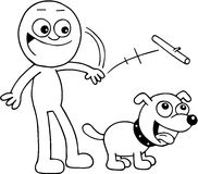 Man Throwing Stick For Dog. Hand drawn cartoon of smiling man throwing stick for dog to fetch Royalty Free Stock Photography