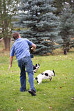 Man throwing stick to dogs. Man in the motion of throwing a fetching stick to playful dogs Stock Image