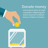 Man throws gold coin in a box for donations. Coin in hand. Donat. Ion box. Donate, giving money. Vector illustration, flat style design Royalty Free Stock Photos