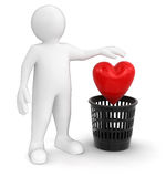 Man throws heart (clipping path included) Stock Photos