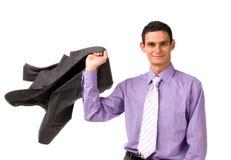 Man throws a jacket Royalty Free Stock Photos
