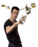 Man throws money Stock Image
