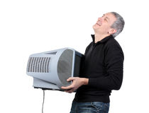 Man throws old TV Royalty Free Stock Photos