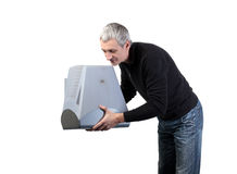 Man throws old TV Royalty Free Stock Photography