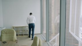 Man throws the paper in the office stock footage