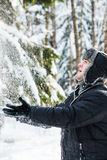 Man throws the snow Royalty Free Stock Images