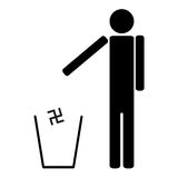 Man throws in the trash Nazi swastika Stock Photography