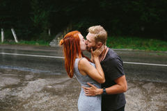 Man throws up his girlfriend Royalty Free Stock Photo